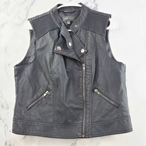 MNG Casual Moto Faux Leather Vest Jacket
